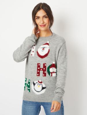 Grey Glitter Ho Ho Ho Slogan Christmas Jumper