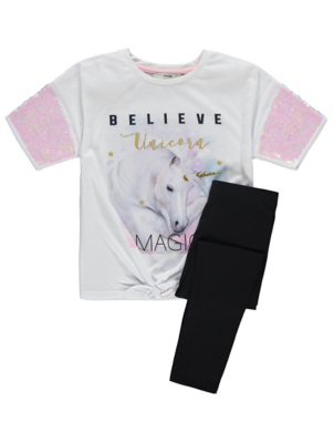 White Unicorn Sequin T-Shirt and Leggings Outfit