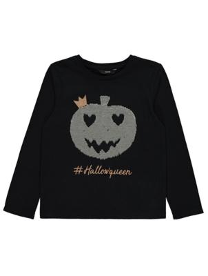 Halloween Swipe Sequin Slogan Pumpkin Top