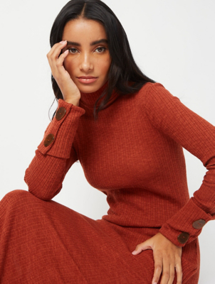 Burnt Orange Ribbed Button Cuff Midi Dress