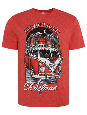 VW Camper Van Red Driving Home Christmas T-Shirt