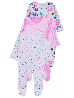 White Floral Sleepsuits 3 Pack