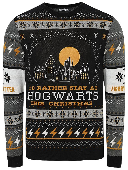 buy best look for purchase newest Harry Potter Hogwarts Slogan Christmas Jumper