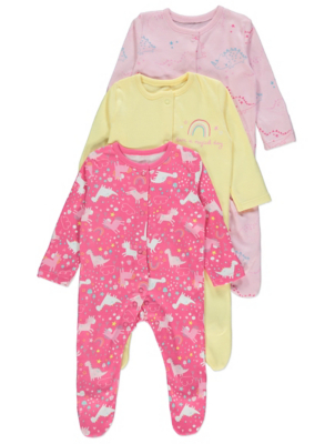 Pink Dinosaur and Unicorn Sleepsuits 3 Pack