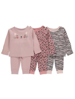 Pink Animal Print Pyjamas 3 Pack