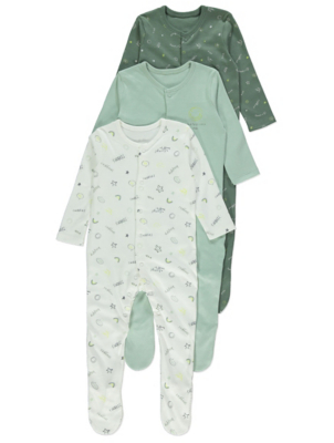 Green Sleepsuits 3 Pack