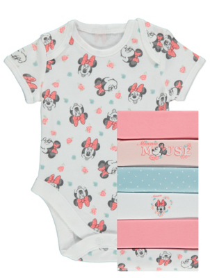 Disney Minnie Mouse Floral Bodysuits 7 Pack
