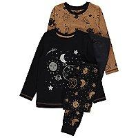Brown Space Foil Print Pyjamas 2 Pack by Asda