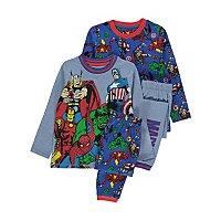 Marvel Comics Avengers Blue Pyjamas 2 Pack by Asda