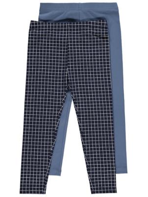 Navy Check Leggings 2 Pack
