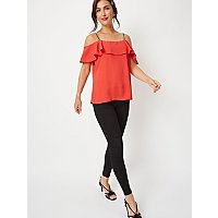 Red Embellished Strap Cold Shoulder Blouse by Asda