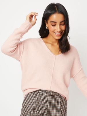 Pink V-Neck Textured Jumper