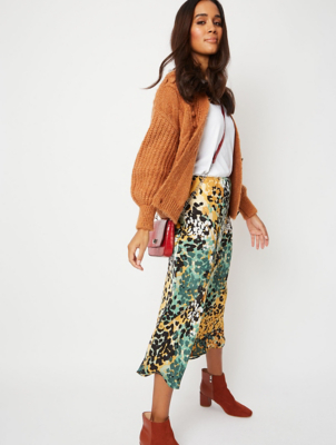 Green Mottled Animal Print Midi Slip Skirt