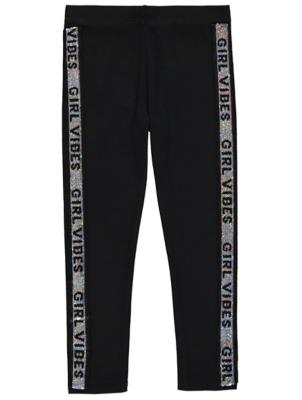 Black Sequin Slogan Side Stripe Leggings