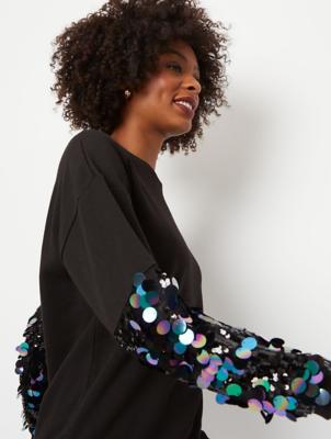 Black Sequin Sleeve Sweatshirt