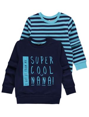 Blue Super Cool Nana Crew Neck Sweatshirts 2 Pack