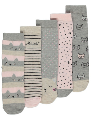 Grey and Pink Cat Ankle Socks 5 Pack