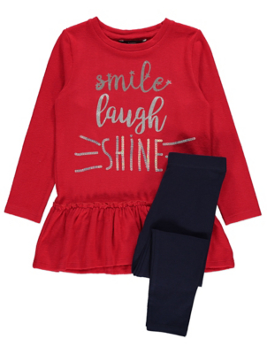Red Sequin Slogan Jumper and Leggings Outfit