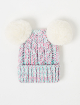 Pastel Pink and Blue Double Bobble Hat