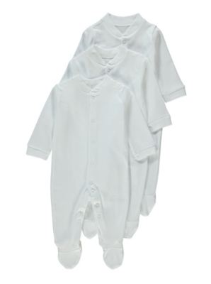 White Plain Sleepsuit 3 Pack