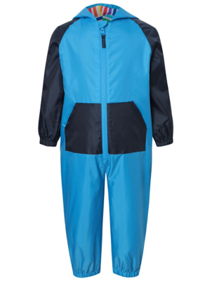 Blue Dinosaur Spikes Puddle Suit