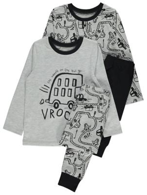 Grey Bus Print Pyjamas 2 Pack