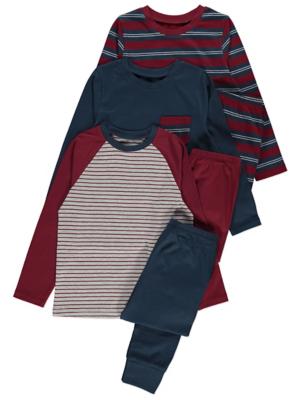 Striped Long Sleeve Pyjamas 3 Pack