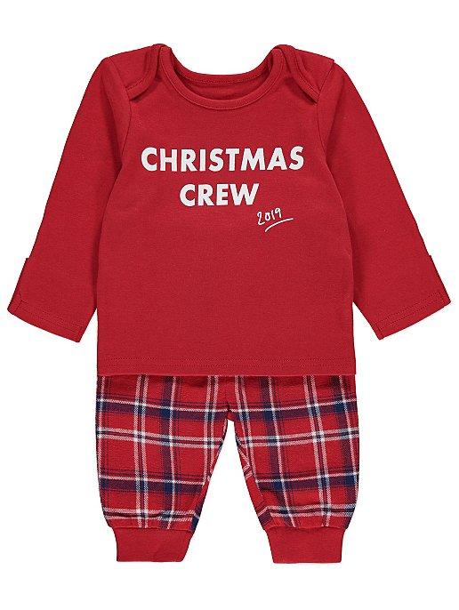 Next Christmas Pyjamas 2019.Red Family Christmas Crew Slogan Pyjamas