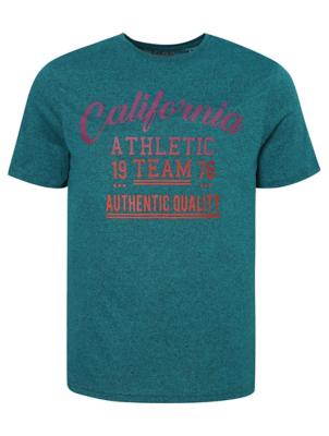 Teal California Slogan Print T-Shirt