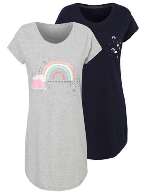 Rainbow Motif Nightdresses 2 Pack