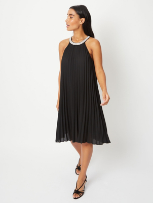 Black Embellished Pleated Trapeze Dress