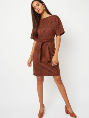 Tan Brown Animal Print Jacquard Belted Dress