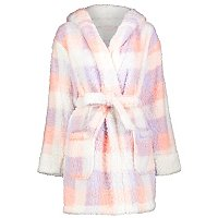 Pink And Lilac Borg Fleece Short Dressing Gown by Asda