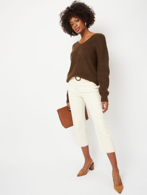 Khaki V-Neck Textured Lightweight Jumper