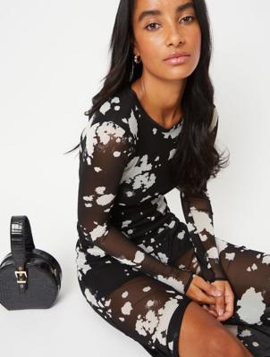 Black Splatter Mesh Maxi Dress