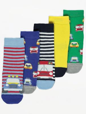 Car Print Socks 5 Pack