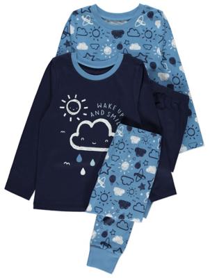 Blue Cloud Print Long Sleeve Pyjamas 2 Pack