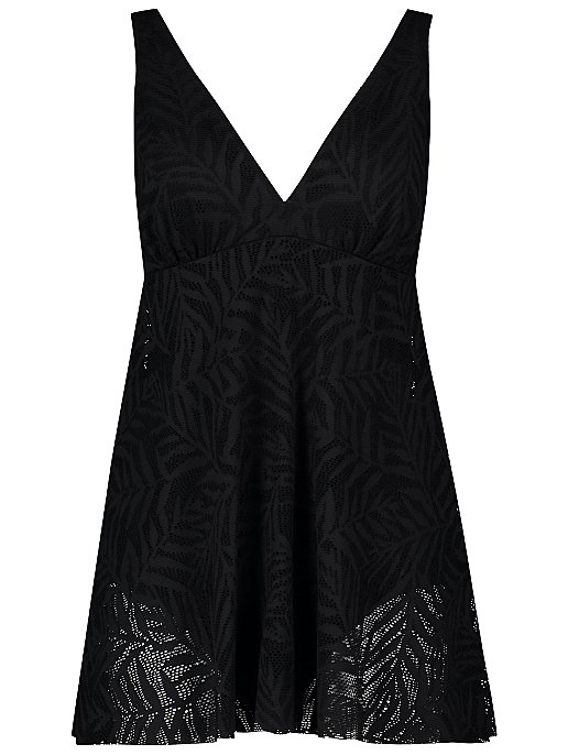 Black Plunge Crochet Swim Dress