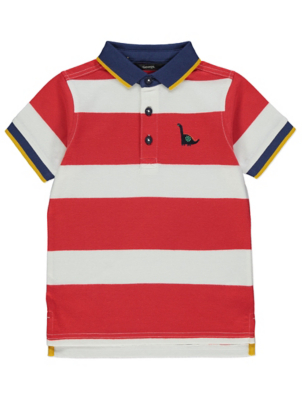 Red Striped Dinosaur Emblem Polo Shirt