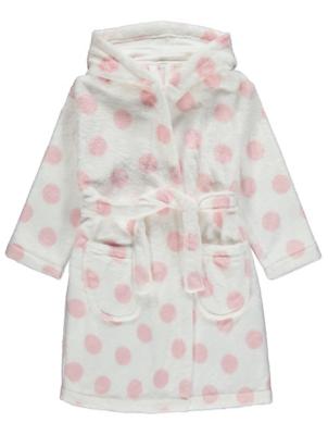 Pink Polka Dot Fleece Dressing Gown