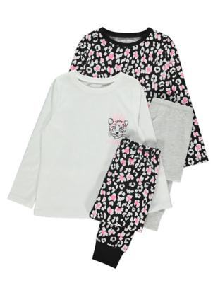 Neon Pink Leopard Print Long Sleeve Pyjamas 2 Pack