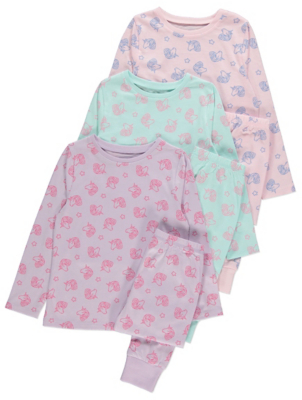 Pastel Unicorn Long Sleeve Pyjamas 3 Pack