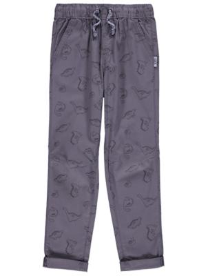 Grey Dinosaur Print Trousers