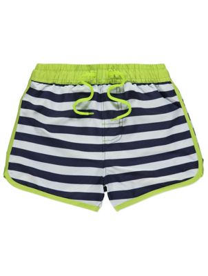 Navy Striped Contrast Trim Shorts