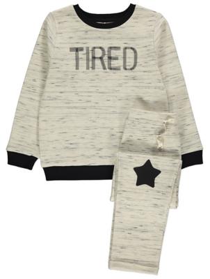 Cream Contrast Trim Tired Slogan Pyjamas