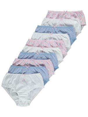 Pink Unicorn Print Briefs 10 Pack