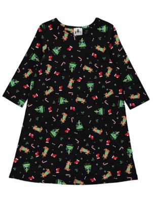 Black Festive Dog Print Christmas Dress