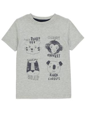 Grey Animal Print T-Shirt
