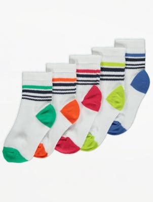 White Sport Trainer Liner Socks 5 Pack