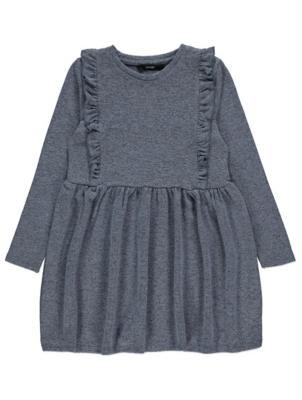 Blue Knitted Ruffle Shoulder Dress